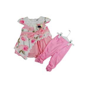 Kids Pink Flowery Party Dress Set