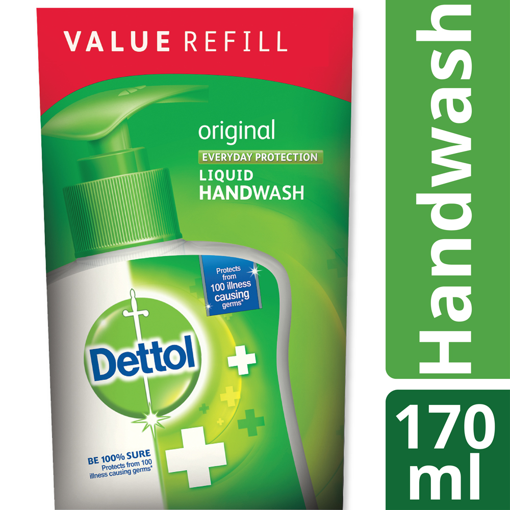 Dettol Handwash 170 Ml Refill Poly Original Shahebbibi Series Package