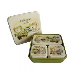 4 Pcs Set Deli Bear Tiffin Box- Green