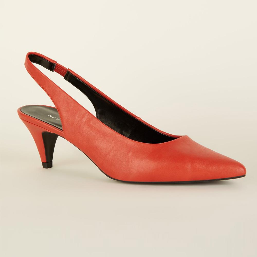 Red Slingback Kitten Heels, New Look